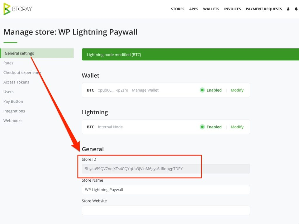 BTCPay Store ID