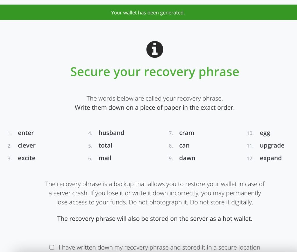 Hot Wallet Recovery Seed