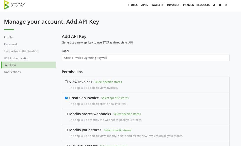 create invoice API Key